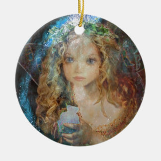 Charm - Fairy Angel with Fairy Dust Blessings Round Ceramic Decoration
