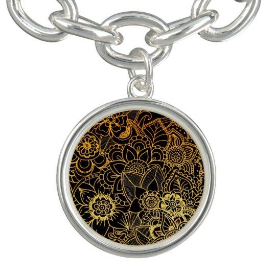Charm Floral Doodle Gold G523