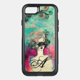 CHARM /Lady With Mask Monogram Pink Teal Green OtterBox Commuter iPhone 7 Case
