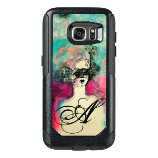 CHARM /Lady With Mask Monogram Pink Teal Green OtterBox Samsung Galaxy S7 Case