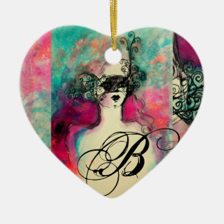 CHARM MONOGRAM,Heart Ceramic Heart Decoration