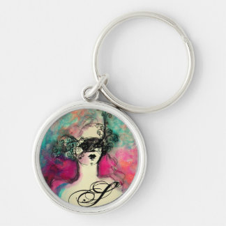 CHARM MONOGRAM Silver-Colored ROUND KEY RING