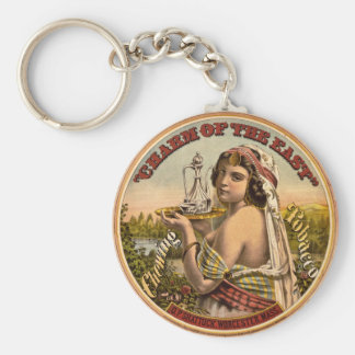 Charm of The East Vintage Chewing Tobacco Ad 1872 Basic Round Button Key Ring
