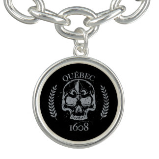 Charm plated money Quebec biker skull 1608