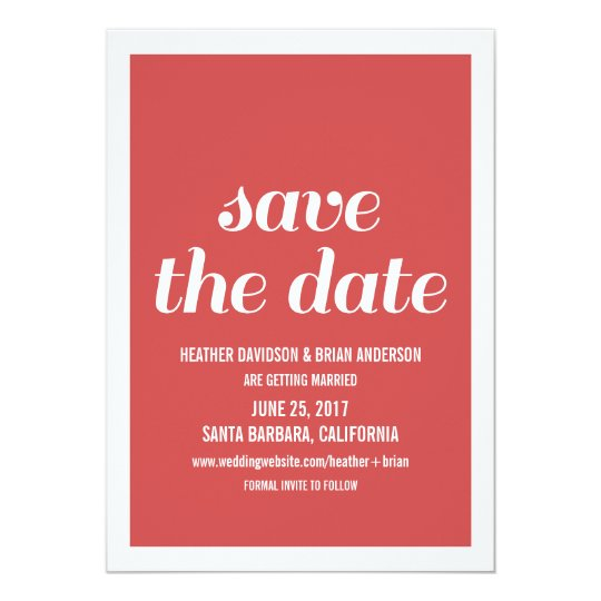 Charm Save the Date Invite, Red Card