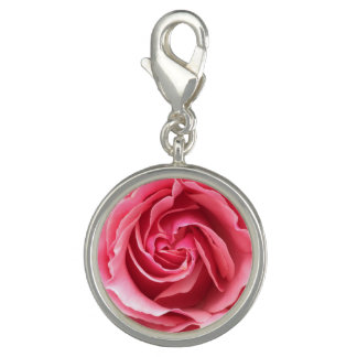 Charm with close up photo of pink rose