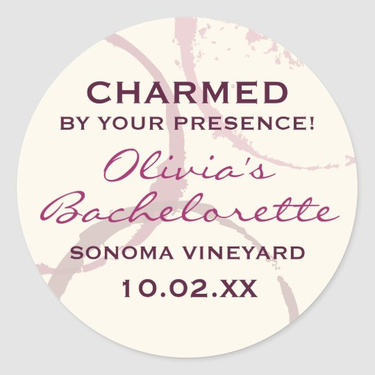 Charmed Favour Sticker | Burgundy Wine Theme