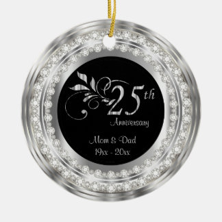 Charming 25th Silver Wedding Anniversary Christmas Ornament