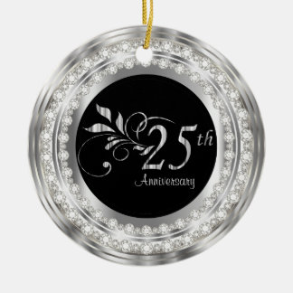 Charming 25th Silver Wedding Anniversary Round Ceramic Decoration