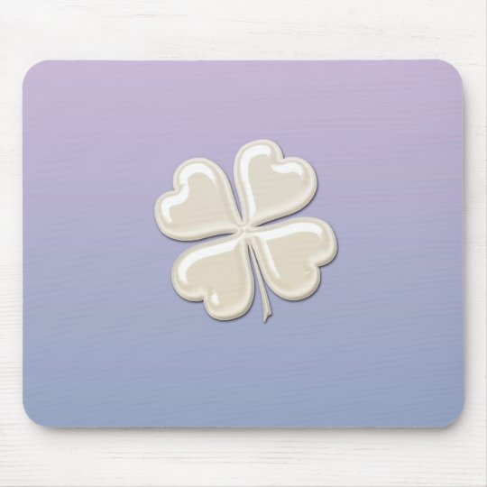 Charming adorable chic pearl lucky shamrock mouse pad