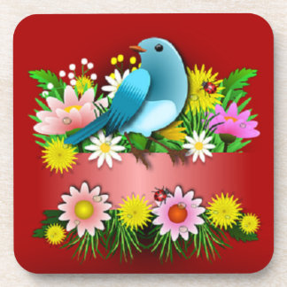 Charming and Cheerful Bird and Flowers Coasters