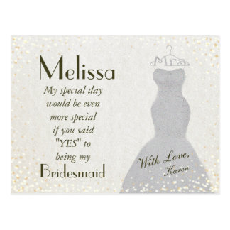 Charming and Fun Bridesmaid Invitation Postcard