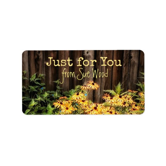 Charming Barn Board and Flowers Custom Gift Labels