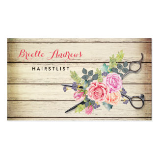 Charming Barn Wood Scissors and Roses Hairstylist Pack Of Standard Business Cards