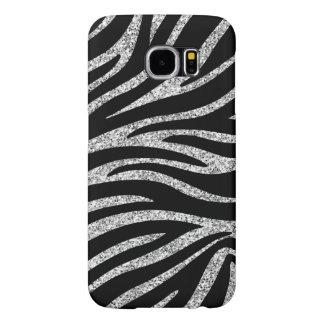 Charming Black Zebra Print Silver Glitter Sparkles Samsung Galaxy S6 Cases