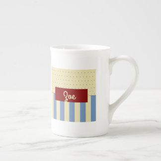 Charming Blue Cream Basket Zoe Bone China Mug