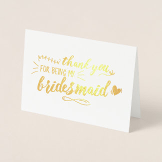 Charming Bridesmaid Thank You Foil Card