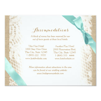 Charming Burlap Lace and Aqua Bow Directions 11 Cm X 14 Cm Invitation Card