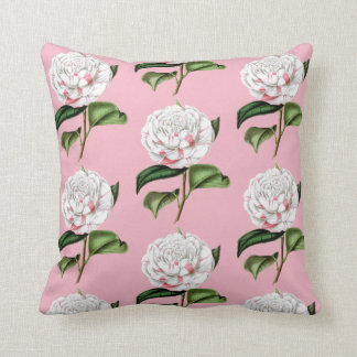 Charming Camellia Floral Throw Pillow