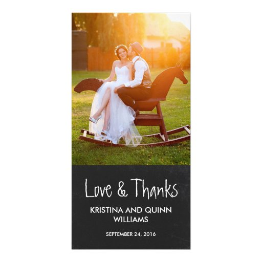 Charming Chalkboard Wedding Thank You Photo Card Photo Card Template