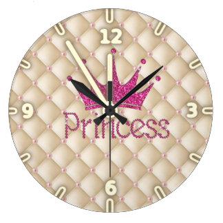 Charming Chic Pearls ,Tiara, Princess,Glittery Large Clock