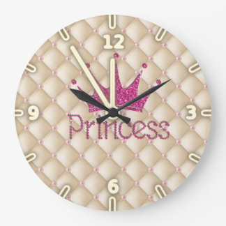 Charming Chic Pearls ,Tiara, Princess,Glittery Wallclocks