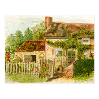 Charming Chimney Cottage with Picket Fence Postcard