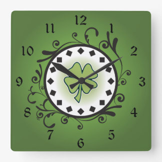 Charming Clover and Vines Green and Black Irish Square Wall Clock