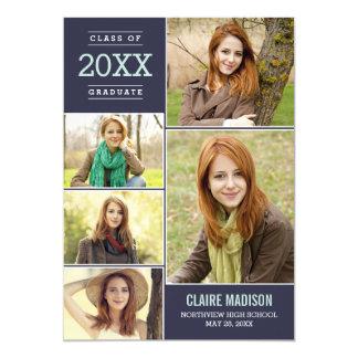 Charming Collage EDITABLE COLOR Graduation 13 Cm X 18 Cm Invitation Card