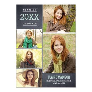 Charming Collage Graduation Announcement - Chalk