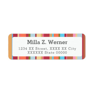 charming colorful stripes return address label