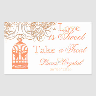 Charming Coral Birdcage Candy Buffet Sticker