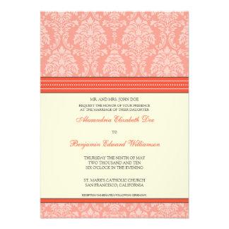 Charming Damask 5x7 Wedding Invitation coral