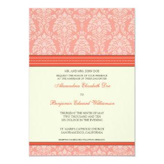 "Charming Damask 5x7 Wedding Invitation: coral 5"" X 7"" Invitation Card"