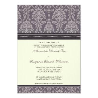 "Charming Damask 5x7 Wedding Invitation: plum 5"" X 7"" Invitation Card"