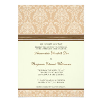 Charming Damask 5x7 Wedding Invitation: taupe 13 Cm X 18 Cm Invitation Card
