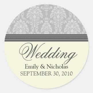 Charming Damask Wedding Invitation Seal (silver) Round Sticker