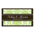 Charming Damask Wedding Web Business Card (lime)