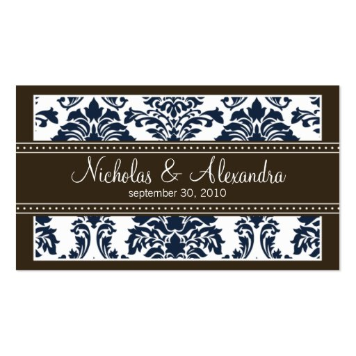 Charming Damask Wedding Web Business Card (navy)