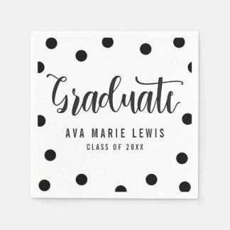 Charming Dots Black Graduation Napkins Paper Serviettes