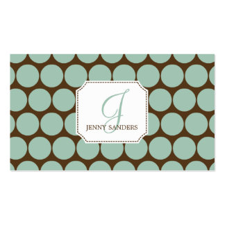 Charming Dots Business Cards - Blue/Brown