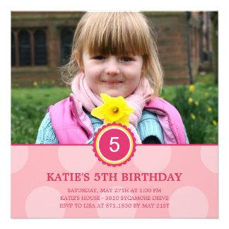 Charming Dots Photo Birthday Invitation Pink Personalized Invitations
