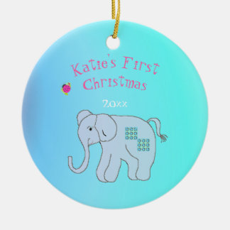 Charming Elephant Baby's First Christmas Christmas Ornament