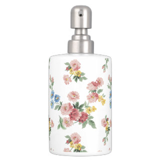 Charming English Cottage Pastel Floral Soap Dispenser And Toothbrush Holder
