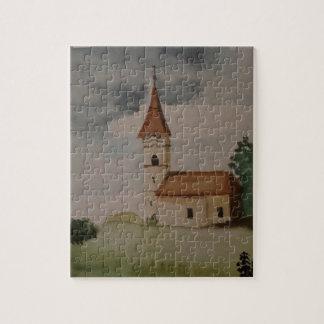 Charming English Medieval Church Watercolour Jigsaw Puzzle