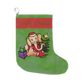 Charming Festive Cartoon Christmas Elephant Large Christmas Stocking