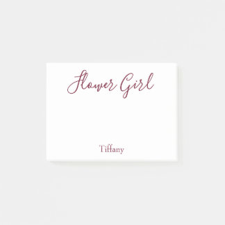 Charming Flower Girl White and Burgundy Post-it Notes