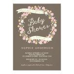 Charming Garden Floral Wreath Girl Baby Shower Custom Invitations