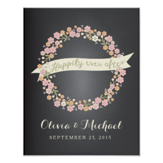 Charming Garden Floral Wreath II Wedding Poster