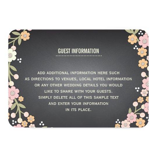 Charming Garden Floral Wreath Wedding Info Card
